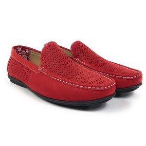 Stacy Adams Cicero Perf Moc Toe Red Loafers Shoes
